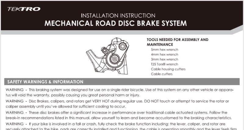 テクトロ メカニカルディスクブレーキ(機械式ディスクブレーキ)MD-C510の説明書を日本語に訳す